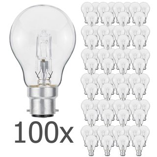 100er Set Luminizer 3045 Classic Eco Halogen A55 B22 70W=92W dimmbar warmweiss